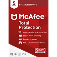 McAfee Total Protection 2021, 5 Device, Antivirus Internet Security Software, Password Manager, Privacy, 1 Year - Key…