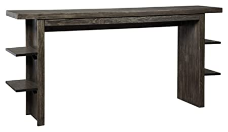 Ashley Furniture Signature Design – Lamoille Counter Dining Table w Shelves – Contemporary – Dark Charcoal Gray