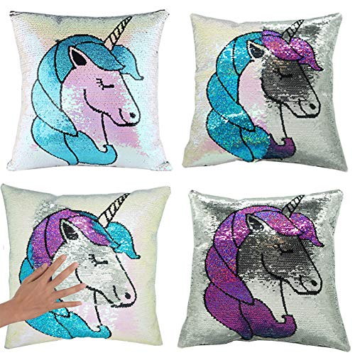 "(URSKYTOUS Mermaid Pillow Case Unicorn Sequin Throw Pillow Case Decorative Color Change Cushion Cover Sofa Bedroom Car Kids Gift(16"" x 16"" Pillow Case Only))"