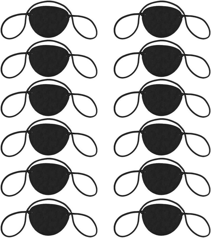 12 Uds parche de ojo pirata parche de ojo estrabismo parche de ojo ajustable máscara de ojo parche de ojo de Halloween parche de ojo ajustable de estrabismo