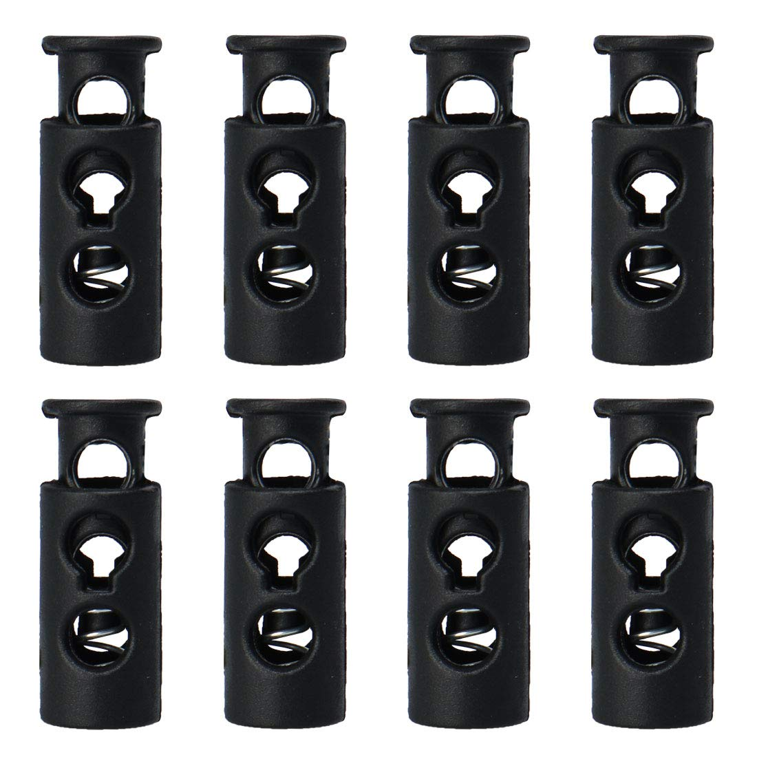 uxcell 6pcs Spring Cord Locks Plastic End Stopper Double Holes Toggle Fastener Rope End for Drawstrings Tie-Downs Metal Black Tent Shoelaces