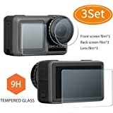 DJI Osmo Action Screen Protector - DYKEISS 2.5D Curved Tempered Glass Full Coverage Foils for DJI OSMO Action 4K Camera, 9H Hardness Clear HD Anti-Bubble Screen Film (3 Set)