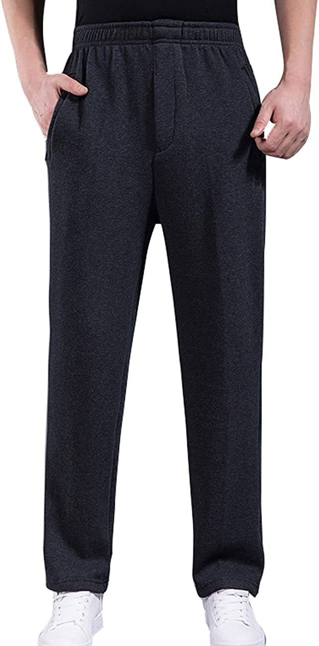 Zoulee Mens Open-Bottom Sports Pants Sweatpants Trousers Front Zip Fly Closure