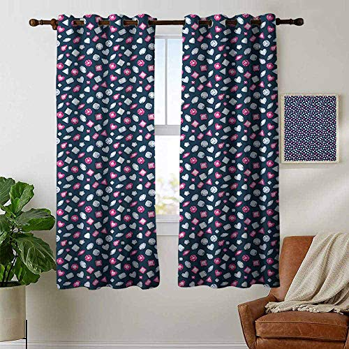 petpany Blackout Curtains for Bedroom Diamonds,Round Marquise Square and Heart Shape Arrangement on Dark Color, Dark Blue Pink Baby Blue,Darkening Grommet Window Curtain 1 Pair 42