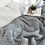 J-pinno Gray Paisley Jersey Cotton Cozy Quilt Reversible Throw Blanket Bedspread Bedding Coverlet for Kids Teen Boys Bed Gift (4, Twin 59'' X 78'')