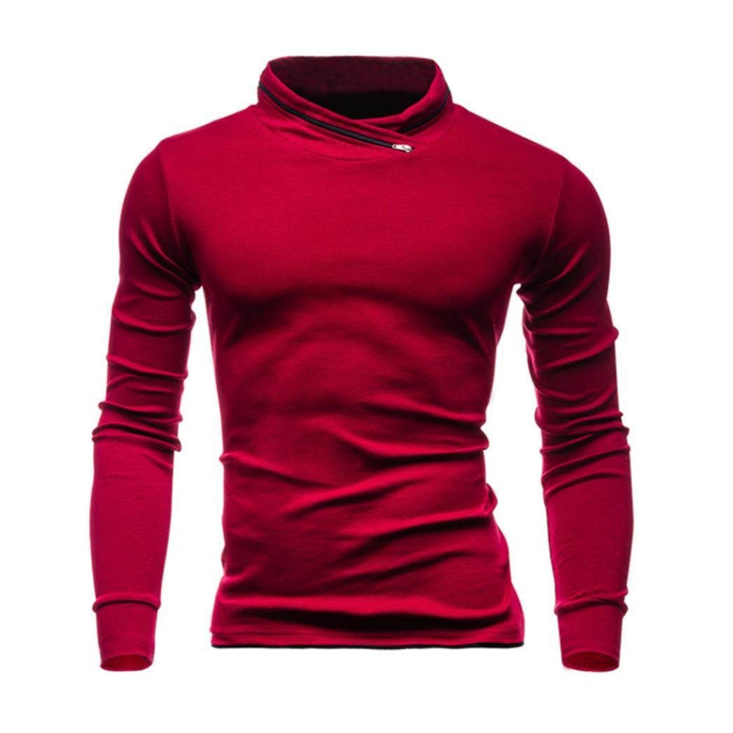 HTHJSCO Men's Shirts, Men's Autumn Winter Solid Long Sleeved Sweatshirts Top Blouse (Red, S)