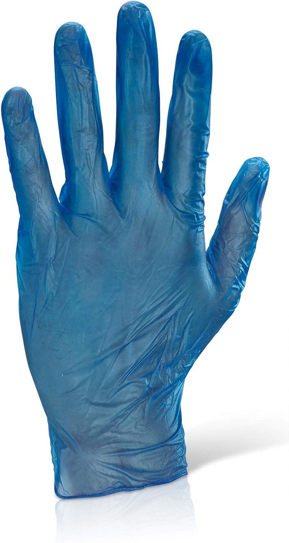 Box of 100 Blue//Clear Medium Examination Gloves Colour Chosen at Random Powdered MediCare Disposable Blue Vinyl Gloves