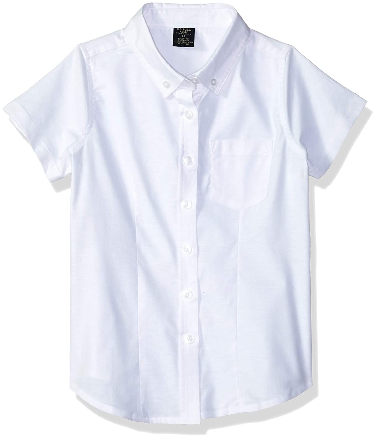 U.S. Polo Assn. Girls' Short Sleeve Stretch Oxford Slim Fit Blouse 7408