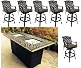 Propane fire pit outdoor bar height dining 7 piece set cast aluminum patio furniture Sunbrella cushions For Sale