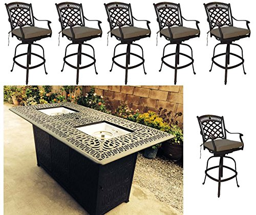 Propane fire pit outdoor bar height dining 7 piece set cast aluminum patio furniture Sunbrella cushions by Sunvuepatio