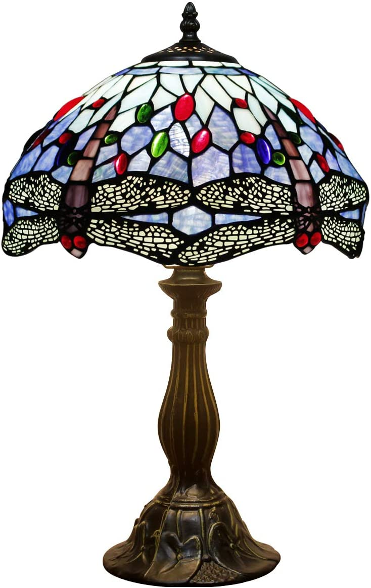 Tiffany Lamp Sea Blue Stained Glass and Crystal Bead Dragonfly Style Table Lamps Height 18 Inch for Coffee Table Living Room Antique Desk Beside Bedroom S004 WERFACTORY