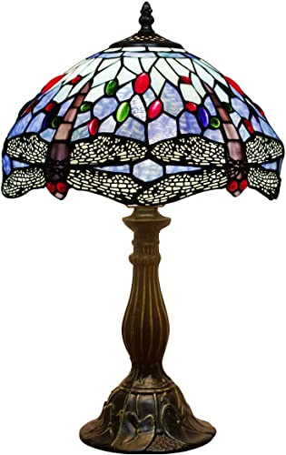 Tiffany Lamp Sea Blue Stained Glass Crystal Bead Dragonfly Style Table Light W12H18 Inch S004 WERFACTORY LAMPS Parent Friend Lover Kids Living Room Bedroom Bar Office Desk Bedside Antique Crafts Gift