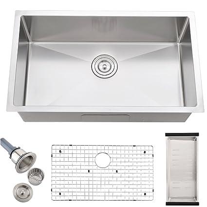 Bokaiya Undermount Kitchen Sink, Deep Single Bowl Kitchen Sink, 16G ...