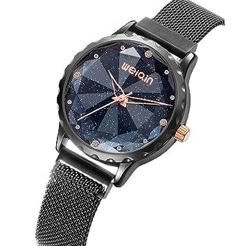 Vestido De Mujer SK Relojes Reloj De Cuarzo para Mujer con Esfera Magnética Y Diamantes De