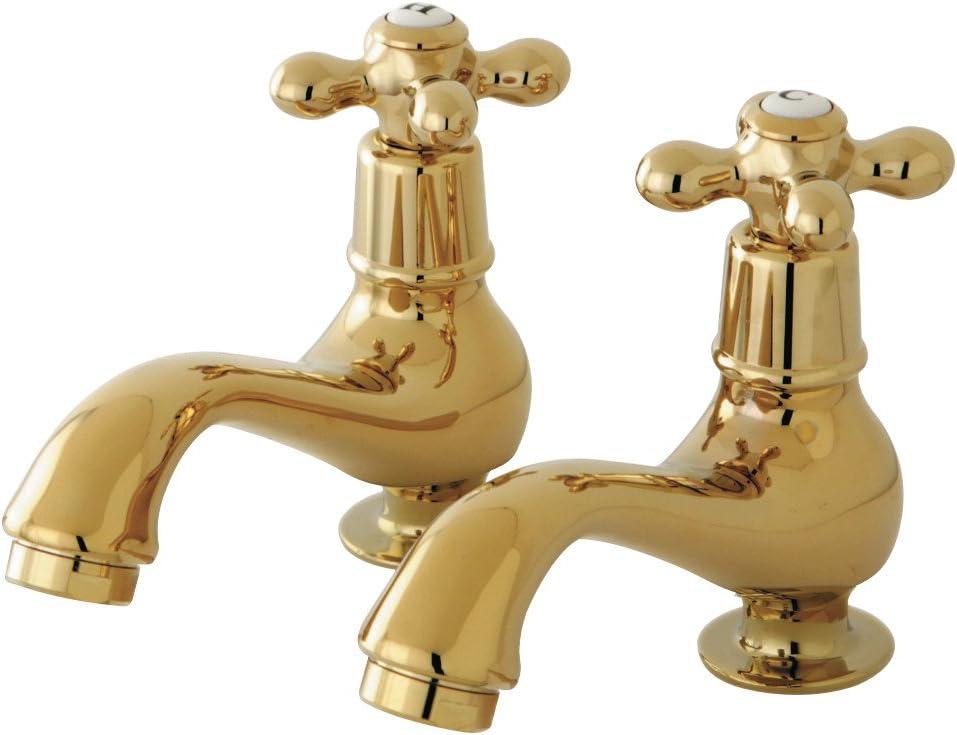 Pair Brushed Nickel Kingston Brass KS1108AX Heritage Classic Basin Faucet Cross Handle