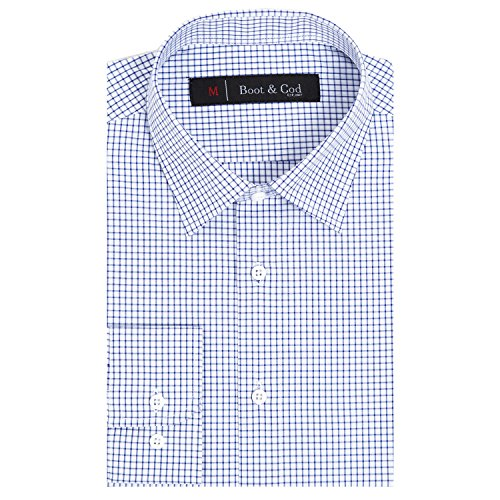 Boot & Cod Men's White Windowpane Check Slim Fitted Long Sleeve Button Down Dress Shirt - XXL -