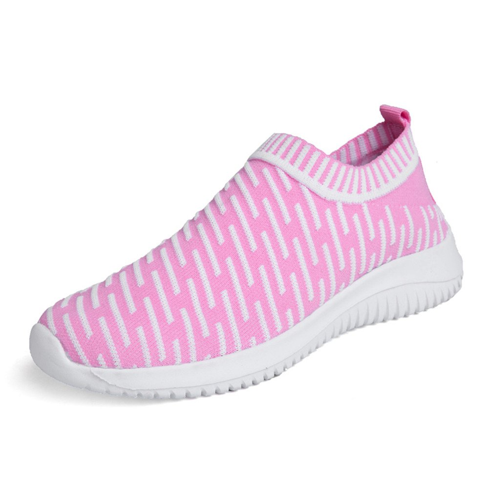 YALOX Men's Women's Walking Shoes Slip On Lightweight Sneakers Fashion Casual Breathable Athletic Running Shoes Women 8 B(M) US|Pink/1-w