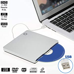 External CD DVD Drive Burner Player USB3.0 Portable Slim Automatic slot-loading CD/DVD-RAM/BD-ROM Superdrive +/- RW Rewriter/Reader with High Speed Data for Laptop Windows Mac OS (DVD2.0)