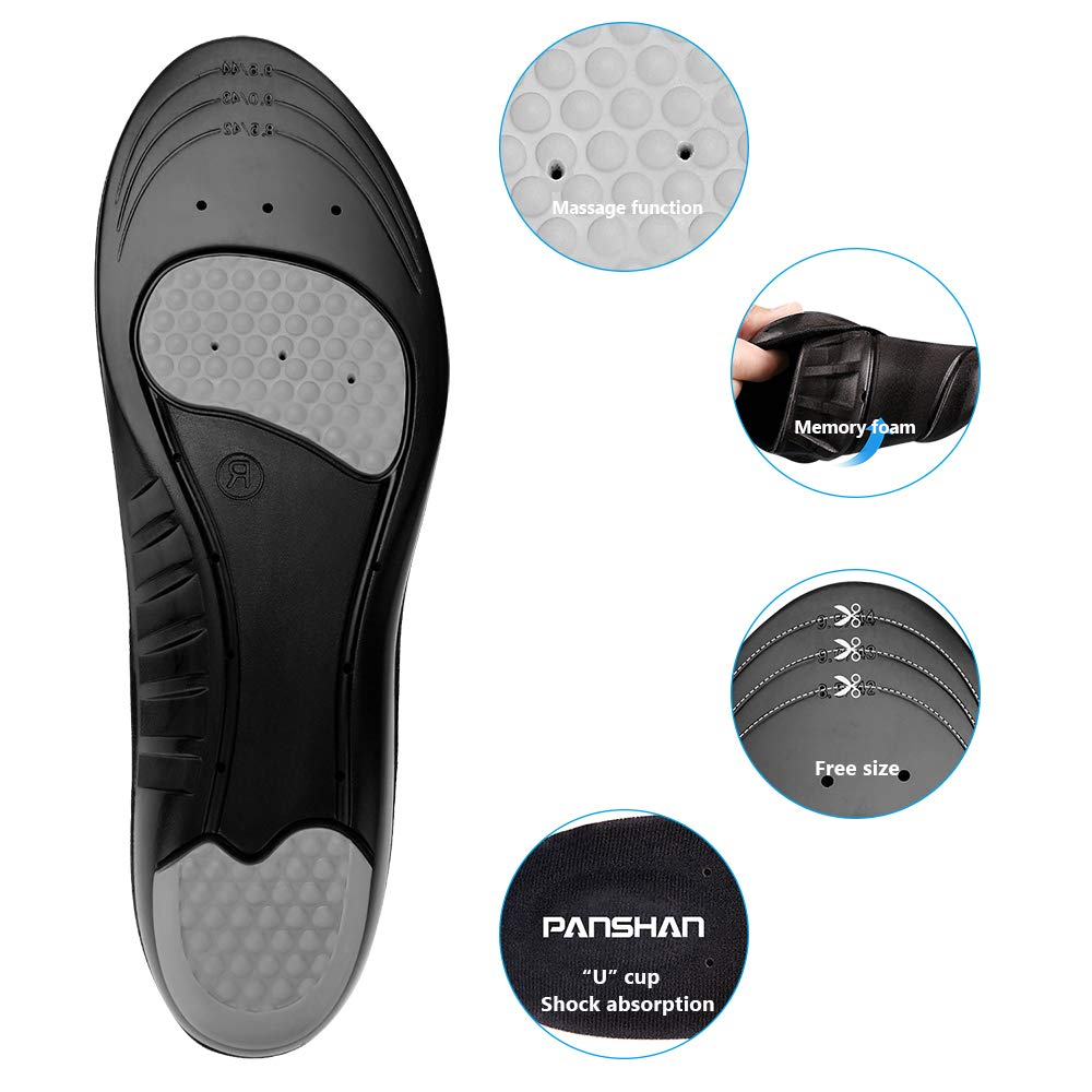 PANSHAN Sports Insoles,Memory Foam Comfort Orthotic Insoles with Arch Support for Plantar Fasciitis Shock Absorption Metatarsal Pad Stoma for men /& women