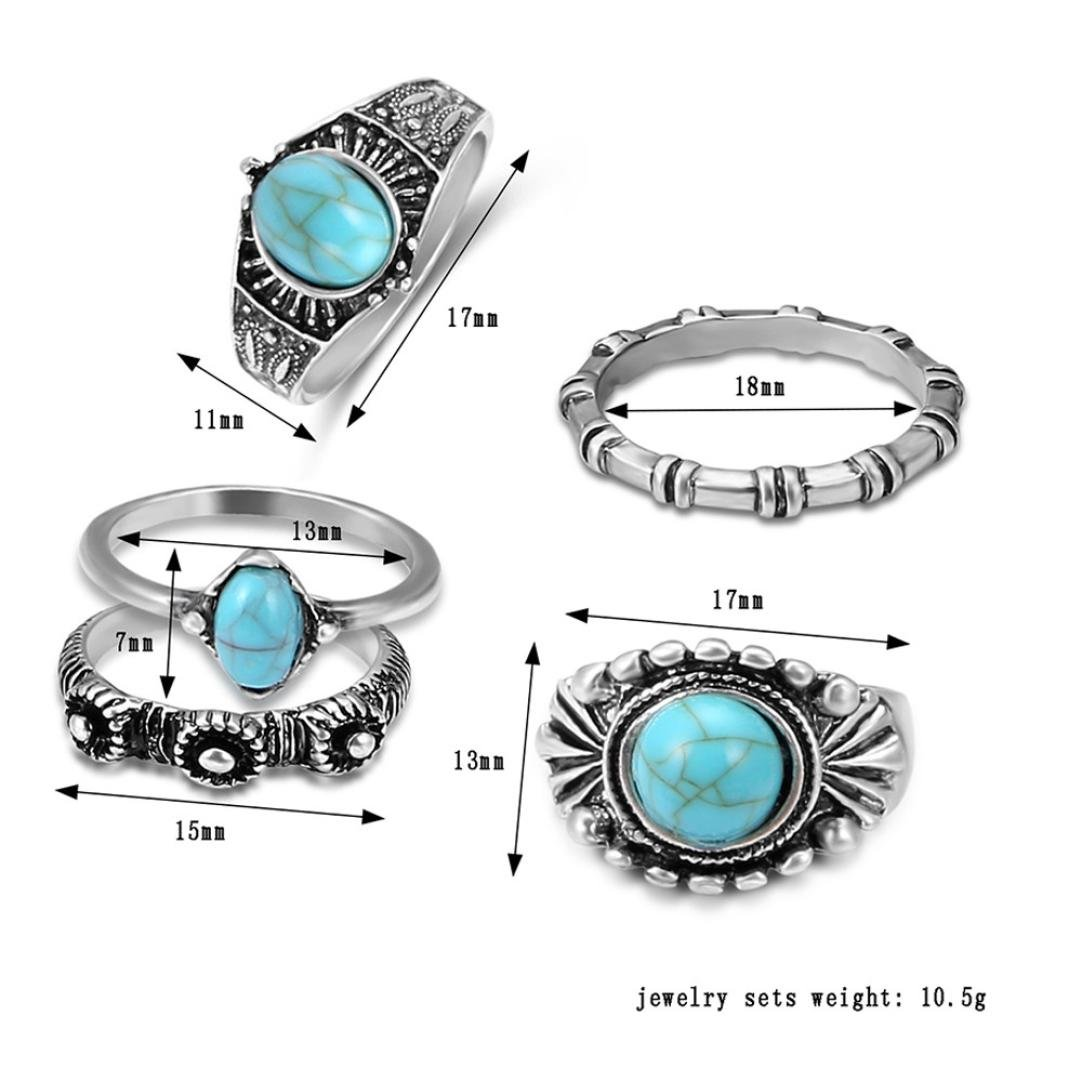 Becoler Vintage Silver Arrow Moon Finger Knuckle Rings Jewelry Gift 5 Pcs