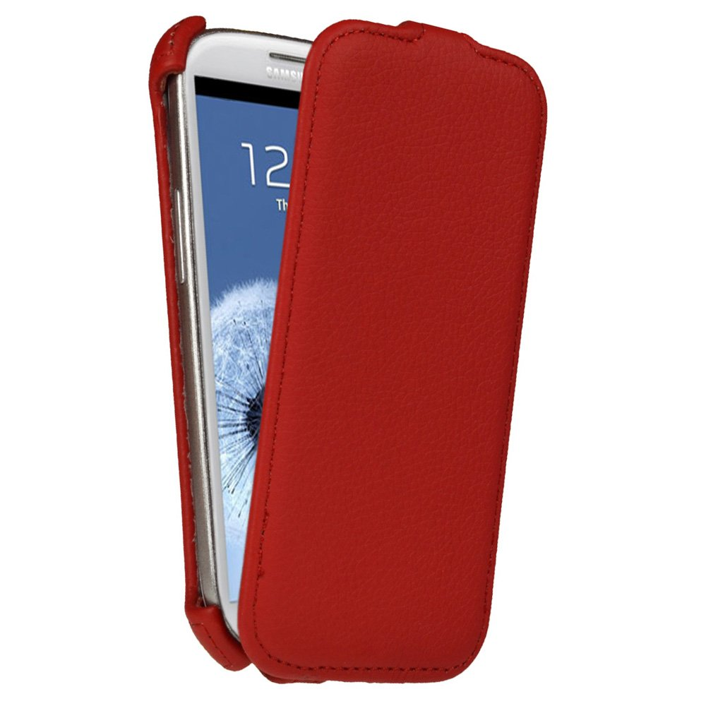igadgitz Red PU Leather Flip Case Cover Holder for Samsung Galaxy S3 III i9300 Android Smartphone Cell Phone (Compatible with all carriers incl AT&T, Sprint Nextel, T-mobile & Verizon Wireless)