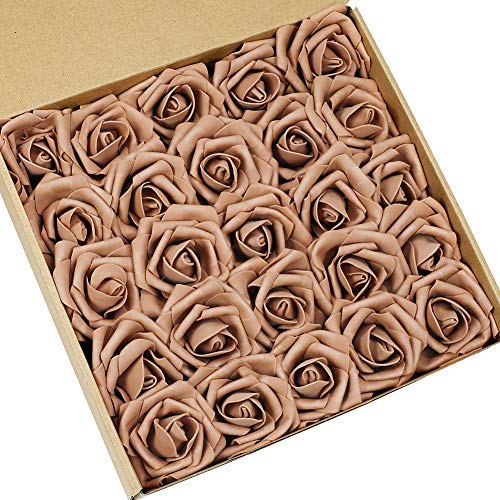 N&T NIETING Artificial Flowers Roses, 25pcs Real Touch Artificial Foam Roses Decoration DIY for Wedding Bridesmaid Bridal Bouquets Centerpieces, Party Decoration, Home Display (Light Golden Brown) ()