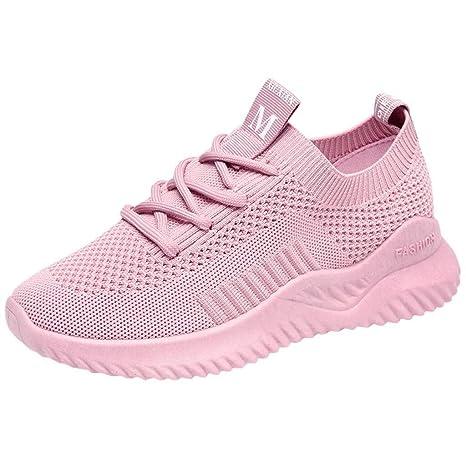 Caren Zapatos Deportivos para Mujer New Trend Zapatillas De Deporte Casuales De Malla Zapatos para Correr Livianos Al Aire Libre De Color Sólido Salvaje (Color : Rosado, Size : 40 EU): Amazon.es: Hogar