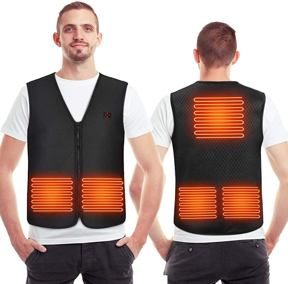 YHG Heated Vest, USB Heating Jacket with 5 Heating Zones, Electric Heating Body Warm Gilet for Outdoor Skiing, Hiking, Fishing, Camping in The Cold Winter(No Battery)