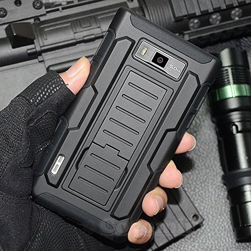 LG Optimus L7 Case, Cocomii Robot Armor NEW [Heavy Duty] Premium Belt Clip Holster Kickstand Shockproof Hard Bumper Shell [Military Defender] Full Body Dual Layer Rugged Cover (Black)
