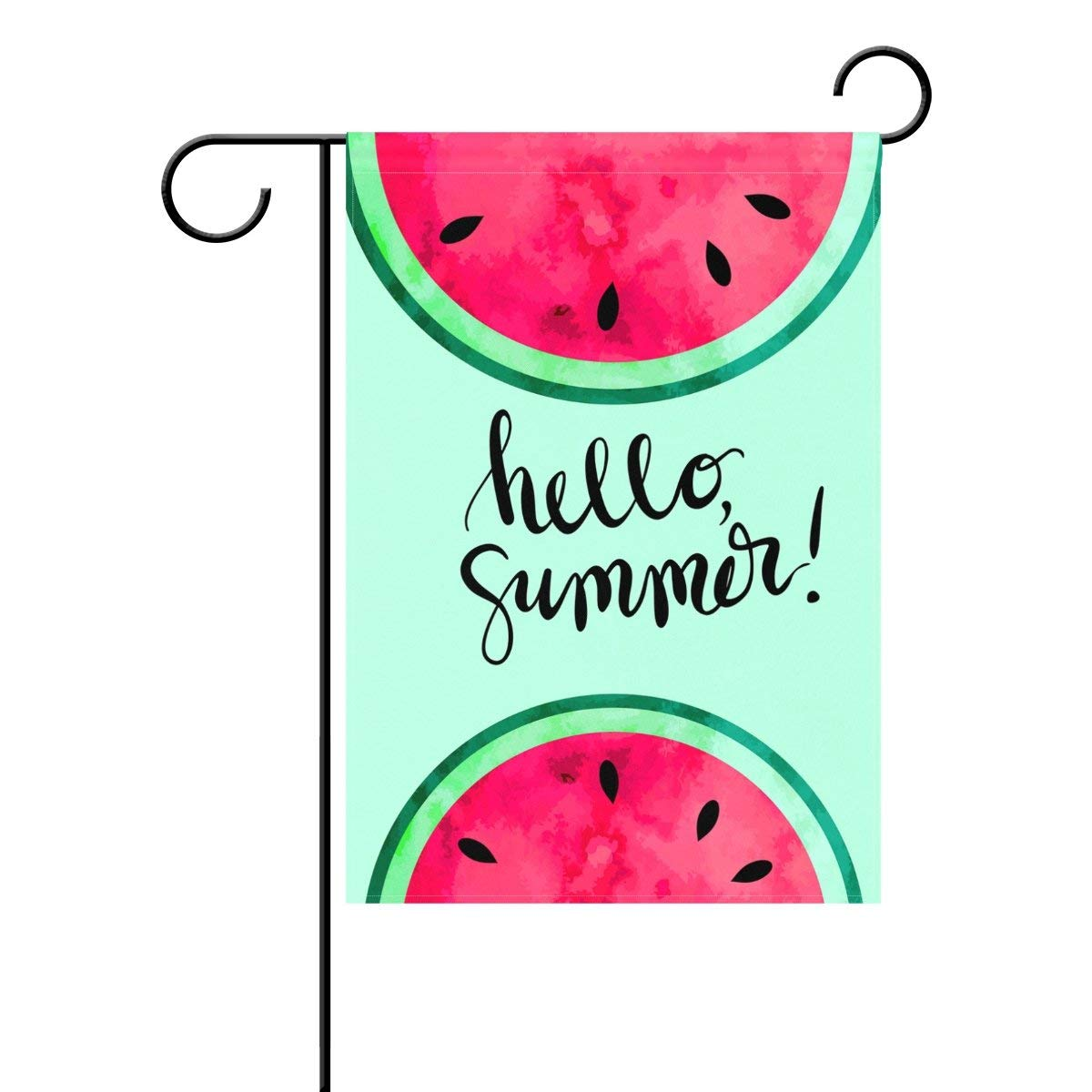 COCOBE Cool Mint Green Hello Summer Watercolor Paint Watermelon Garden Flag Home Decor Double Sided 12 x 18