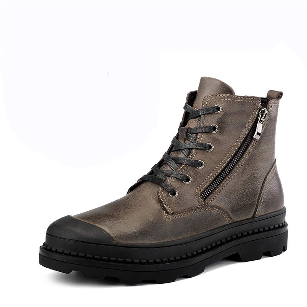 Qiusa Mens Schnürschuh WinterOOdoors Side Zip Soft Sohle Rutschfeste Casual Atmungsaktive Stiefel (Farbe   Braun, Größe   EU 47)