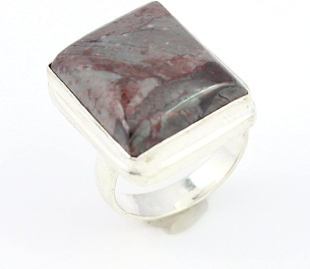 RHODONITE FASHION JEWELRY .925 SILVER PLATED RING 8 S15774