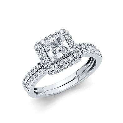 17c1684dd1a1a Wellingsale Ladies Solid 14k Yellow -OR- White Gold CZ Cubic Zirconia  Princess Cut Halo Engagement Ring with Side Stones and Matching Band Bridal  Set