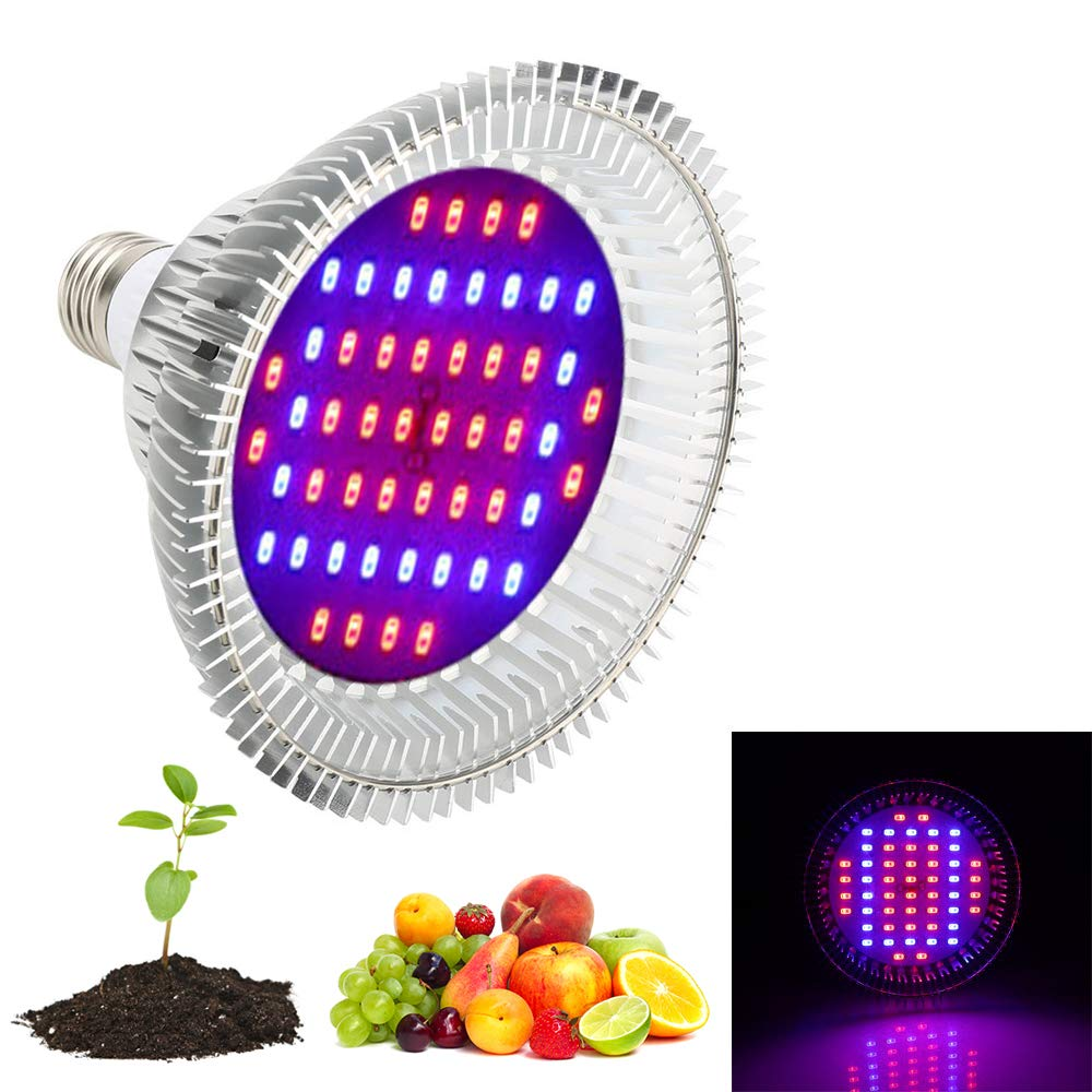 Derlight 52W E26 Led Grow Light Bulbs, Grow Lights for Indoor Plants, Led Plant Bulb Growing Lamp for Hydroponics Indoor Garden Greenhouse With 30 Red and 22 Blue LEDs