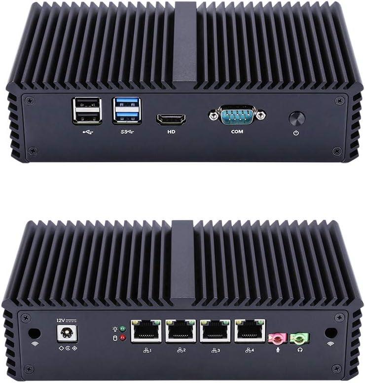 Qotom-Q330G4 Fanless Mini Desktop PC with 4 Ethernet LAN Intel Core i3 4005U Computer (8G RAM + 64G SSD)
