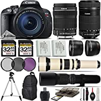 Canon EOS Rebel T5i DSLR Camera + Canon 18-135mm STM Lens + Canon 55-250mm Lens+ 0.43X Wide Angle Lens + 2.2x Telephoto Lens + 650-1300mm Zoom Lens + 500mm Telephoto Lens + - International Version