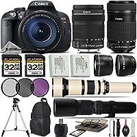 Canon EOS Rebel T5i DSLR Camera + Canon 18-135mm STM Lens + Canon 55-250mm Lens+ 0.43X Wide Angle Lens + 2.2x Telephoto Lens + 650-1300mm Zoom Lens + 500mm Telephoto Lens + - International Version