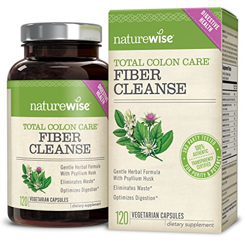 NatureWise Total Colon Care Fiber Cleanse with Herbal Laxatives, Prebiotics & Digestive Enzymes for Healthy Elimination, Detox & Gut Health, 30 to 60-Day Supply, 60 Count
