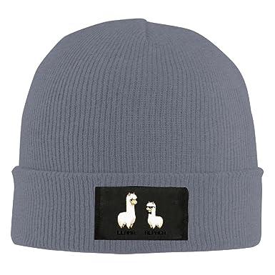 38b4edab650f9 ReBen Men s Women s Cartoon Alpaca Vs Llama Warm Winter Knit Plain Beanie  Hat Skull Cap