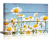 Wall26 - Daisy Field in Bright Sun - Rustic Floral Arrangements - Pastels Colorful Beautiful - Wood Grain Antique - Canvas Art Home Decor - 16x24 inches