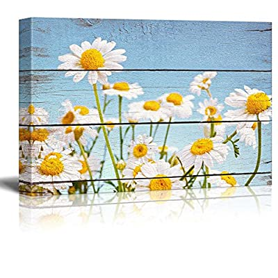Daisy Field in Bright Sun - Rustic Floral Arrangements - Pastels Colorful Beautiful - Wood Grain Antique - Canvas Art Home Art - 32x48 inches