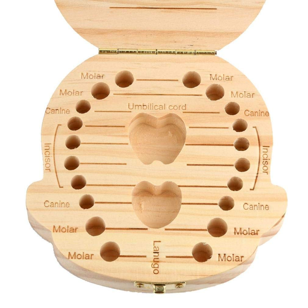 Baby Wooden Teeth Box Kids Print Baby Tooth Box Fallen Tooth Saver Cute Storage Case Keepsake Container Organizer Souvenir Box for Boy and Girl