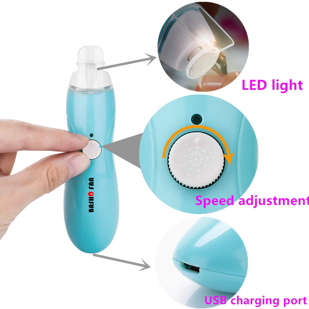 Electric Nail File, Quiet and Safe Baby Nail File,9 in 1 Nail Drill,continuously Variable USB Charging,Art Polisher Sets Glazing Fast Manicure Pedicure Best Gift
