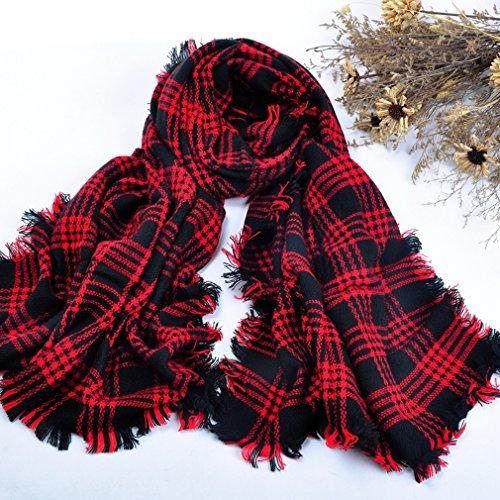 Auralum® Mehrfarbige KarierteWollschal Ultra bequem weich Wolle Spinnerei Strickschal im Herbst&Winter Wärmehaltung lange weich Wraps grosse Schal(Rot-bunt Karierte)