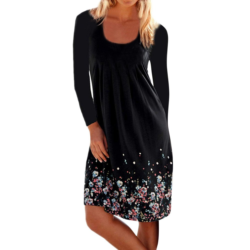 Winsummer Womens Casual Loose Plain Dresses Vintage Floral Printed T-Shirts Dress Plus Size Black