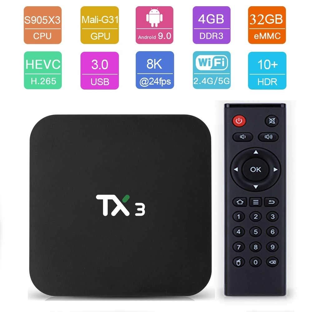 X96 TaNiX TX3 Android 9.0 4GB 32GB Android TV Box 4K Amlogic S905X3  Supports JIO TV HotStar Thop TV PlayStore Miracast UHD 8K 1080P USB 3.0  Bluetooth 5G WiFi Smart TV Box-