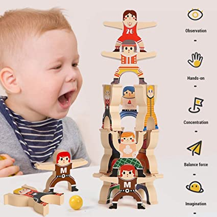 Balanced Building Blocks Wooden Childrens Toys Home Decor 3D Puzzle Toys Stacked Development Toys Balancing Game LIAOLI Wooden Stacking Blocks