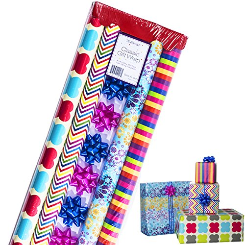 Gift Wrapping Paper – All Occasion Wrapping Paper – Wrapping Paper – Premium Gift Wrap, 4 Rolls - 2.5 ft x 10 ft per Roll, Includes 7 Bows, 2 Rolls of Ribbons - Occasion Gift Bow