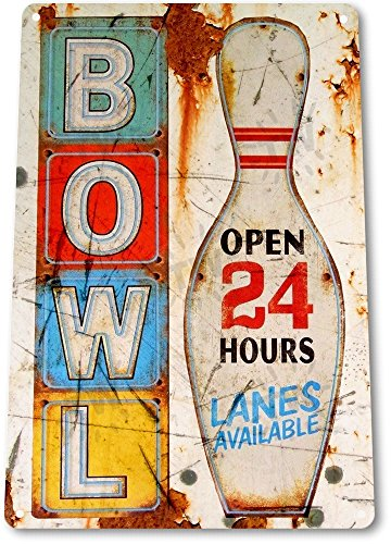 TIN SIGN Bowl Open Sign Bowling Pins Alley Lanes Sports Rustic Metal Decor (Bowling Alley Signs)