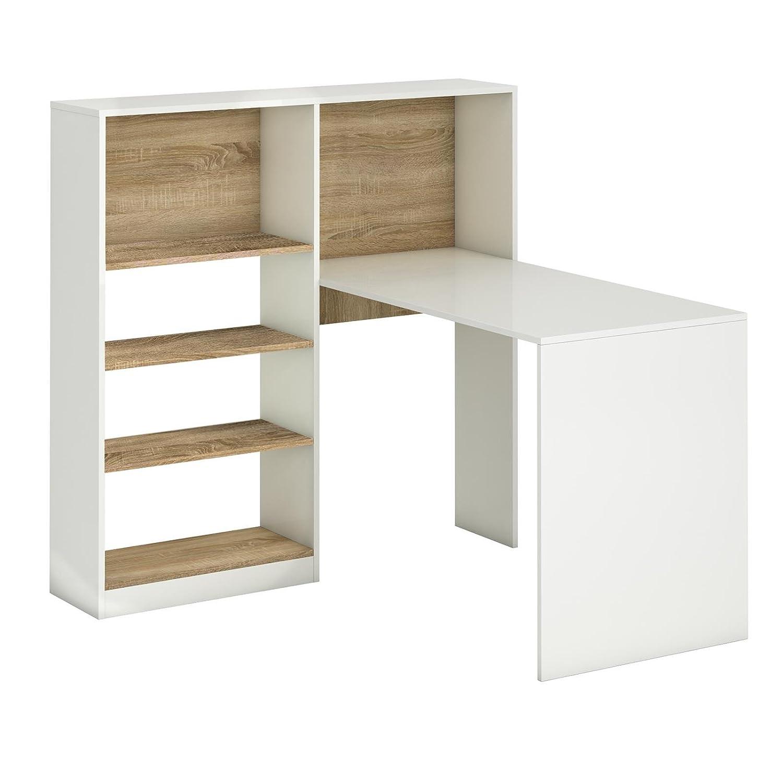 Sympathisch Regal Schreibtisch Galerie Von Caro-möbel Eckschreibtisch Bürotisch Frida, In Weiß/sonoma Eiche